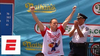 Joey Chestnut pummels record 74 hot dogs to win Nathan's Hot Dog Eating Contest for 11th time   ESPN