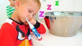 Thói quen buổi sáng của Vlad và Nikita với mẹ buồn ngủ