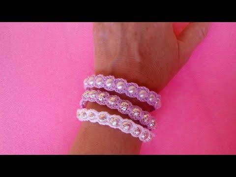 Bracciale con Perle ad Uncinetto -Crochet Bracelet Pearl - Brazalete de perlas crochet