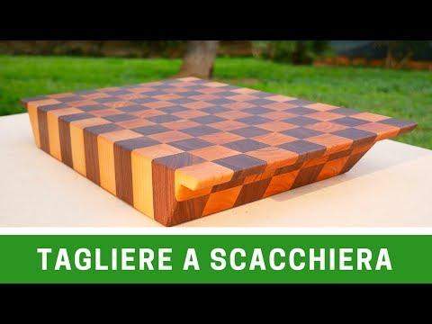 Tagliere in legno di noce e ciliegio - Walnut and cherry checkerboard cutting board