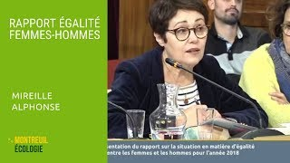 Rapport égalité Femmes-Hommes : intervention de Mireille Alphonse au CM du 06/02/2019