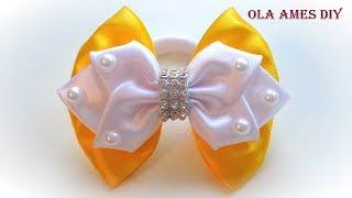 Бантик из ленты Канзаши Мастер Класс/ Satin ribbon bow/ Laço de fitas/ Ola ameS DIY