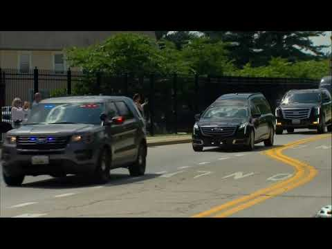 A motorcade carrying the casket of late US senator John McCain arrived for a private memorial service and interment at the US Naval Academy in Annapolis on Sunday. (Sept. 2)