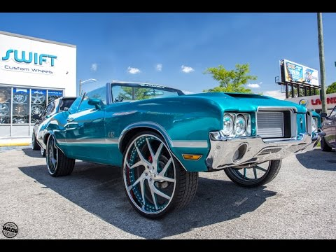"""Burger's Candy Teal Oldsmobile 442 Convertible on 26"""" Wheels by Swift Custom Wheels"""