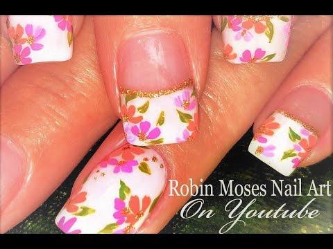 Paint Me Robin Moses! DIY AMAZING Spring bouquet Nail Art Design Tutorial