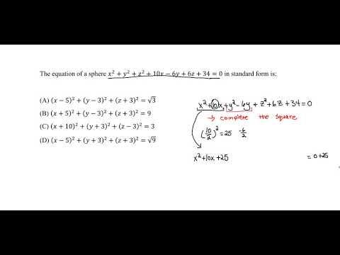FE Exam Practice - Analytic Geometry - Spheres (General form to ...