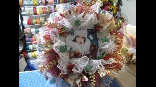 2019, Christmas Vintage ,1950's Woman's Deco mesh Wreath