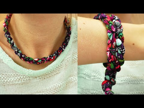 DIY Idee mit Stoff Resten | Kette, Armband, Gürtel | verschiedene Ideen mit einer Stoffkordel