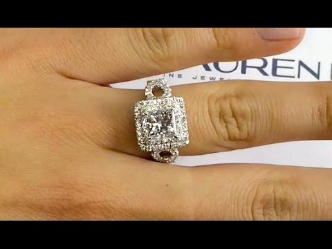 1.80 ct Princess Cut Diamond Halo Engagement Ring