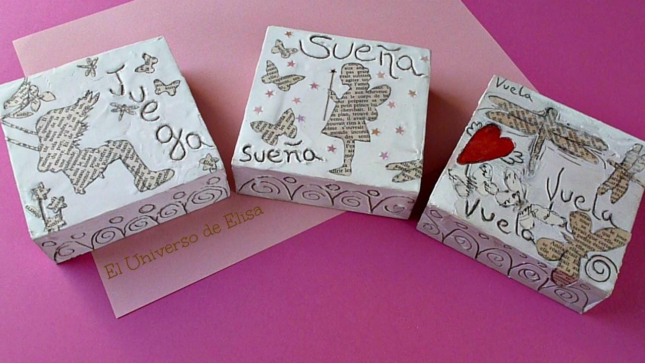 Cmo decorar con siluetas de papel Triptico con texturas y siluetas