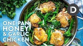 ONE PAN Honey & Garlic Chicken Dinner!