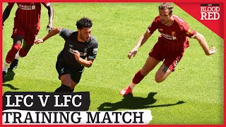 Liverpool took part in an in-house friendly at Anfield, which was split into seven sections and involved different match scenarios.  The teams lined up as follows:   Alisson; Williams, Hoever, van Dijk, Robertson; Henderson, Keita, Jones; Elliott, Mane, Firmino. v Adrian; Trent, Gomez, Lovren, Larouci; Fabinho, Oxlade-Chamberlain, Milner; Salah, Minamino, Origi.  Sadio Mane and Naby Keita bagged goals in the session as Jurgen Klopp watched on in the sun with his backroom team.  Narrated by Matt Addison.  Produced by Kai Delaney.  The Liverpool Echo sends a twice-daily Liverpool FC bulletin out via email with the all latest news, views and analysis from Anfield. Sign up for this service here: https://communicatoremail.com/F/QvfUCndgGDRHFbKqw0Z7Ip/  Listen to our Blood Red podcasts: https://podfollow.com/1109064476/view  Join our Blood Red podcast group on Facebook: https://www.facebook.com/groups/1656599847979758/  Visit the Liverpool ECHO website: https://www.liverpoolecho.co.uk/all-about/liverpool-fc  Download our Liverpool FC app for free: Apple - https://apps.apple.com/gb/app/lfc-echo/id1255495425 Android - https://play.google.com/store/apps/details?id=com.mirror.liverpoolfc  Follow us on Twitter: https://twitter.com/LivEchoLFC  Follow us on Facebook: https://www.facebook.com/LiverpoolEchoLFC/  Follow us on Instagram: https://www.instagram.com/bloodred_lfc/