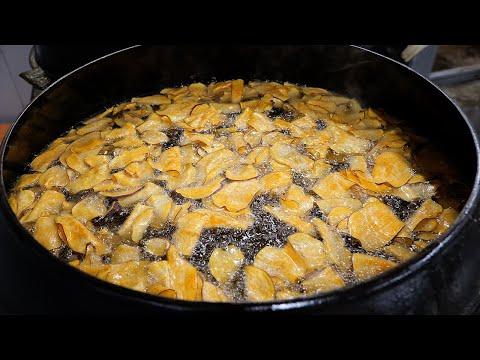 귀농청년이 직접 농사해서 만든 수제 고구마칩 / handmade deep fried sweet potato chip / korean street food