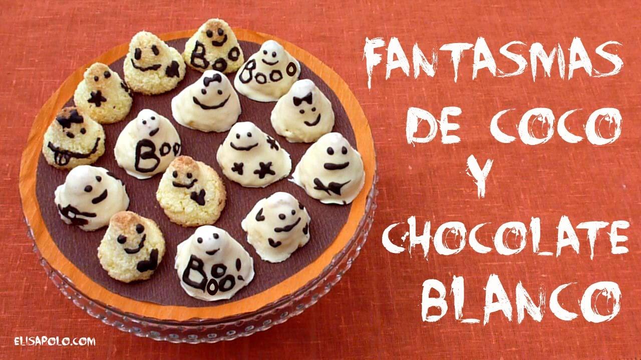 Recetas Dulces para Halloween y el Día de los Muertos, Fantasmas de Coco y Chocolate Blanco