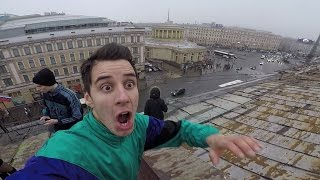 ПОБЕГ от охраны на крыше Питера. Руфер Гордей. BMX GoPro