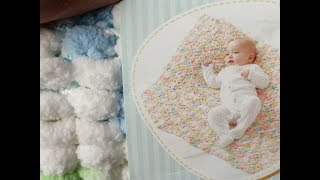 How to make a blanket with Bernat Baby Pom Pom Yarn and Review