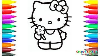 Coloring Pages To Print - Hello Kitty Holding A Flower Kids Learn Drawing | Art Colors For Children