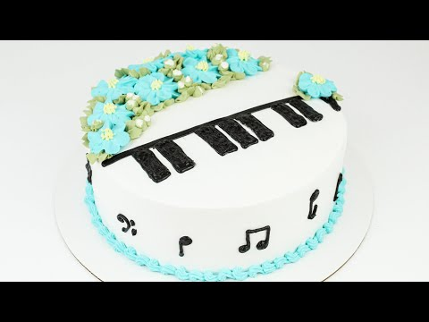 Floral Piano Cake Tutorial with Whipped Cream