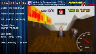 "MK64 - World Record on Choco Mountain - 1'56""08 (NTSC: 1'36""54) by Matthias Rustemeyer"