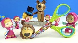 Koca Ayı yumuşak oyuncak kesme oyunu Sihirbaz Maşa ile Koca Ayı Mashems oyuncak kestik for kids