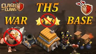 Clash of clans - Best Th5 War Base (Anti Giant + Healer) 2016 !!