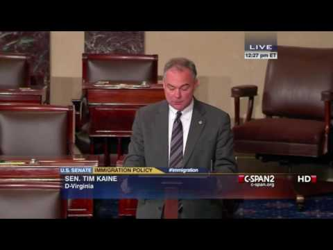 Senator Tim Kaine delivers immigration reform speech in Spanish (C-SPAN)
