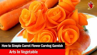 Simple Carrot Flower Carving Garnish - Arts In Vegetable Flower Carving Designs