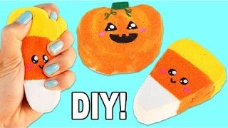 DIY How to Make Cute Squishies Candy Corn and Pumpkin Halloween Shape Sponge Toys!