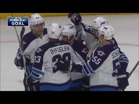 Laine's trick shot goes off boards, off Bishop and in for 34th goal