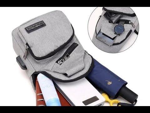 Модные мужские противоугонные нагрудные сумки через плечо и зарядка через usb