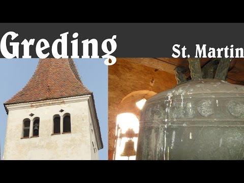 GREDING (RH), Alte Pfarrkirche St. Martin - Einzelglocken und Vollgeläute (Turmaufnahme)