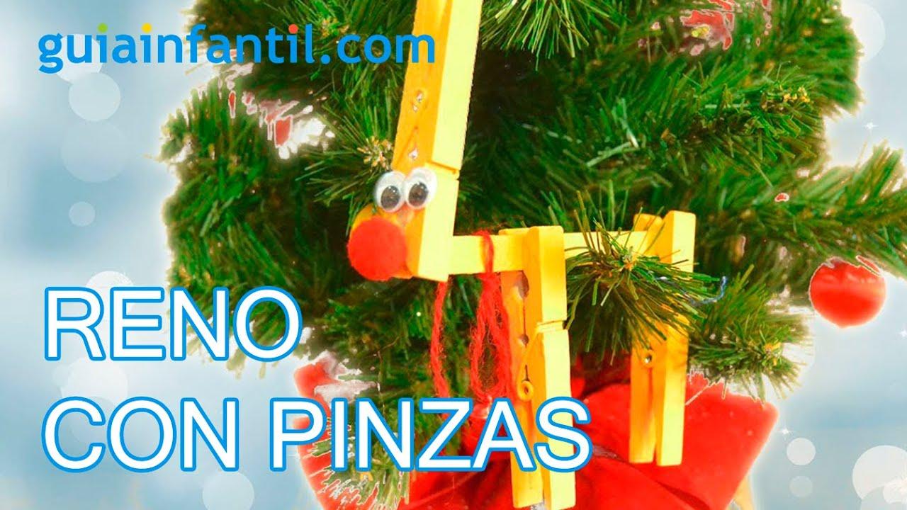 Reno. Manualidades navideñas con pinzas para niños