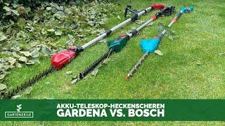 Akku-Teleskop-Heckenscheren im Test | Gardena vs. Bosch
