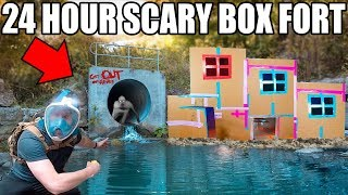 24 HOUR ABANDONED TUNNEL BOX FORT!! 📦😱 Finding The Rake!