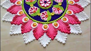 Navratri rangoli designs l Diwali rangoli designs diya l Saraswathi pooja kolam l नवरात्री रांगोळी