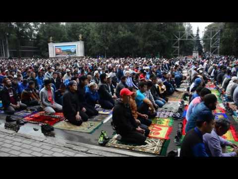 Shaky run towards Eid prayer in Bishkek, Kyrgyzstan