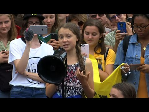 Greta Thunberg Leads School Strike for Climate in Front of White House