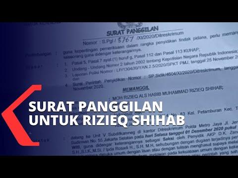 serahkan surat panggilan polisi akan periksa rizieq shihab pada desember