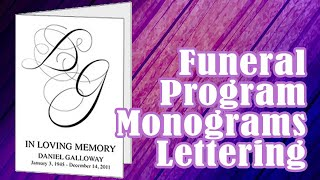 Funeral Program Monograms Script Lettering