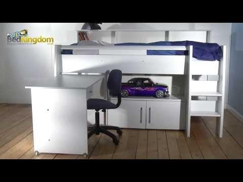 parisot hochbett swan mit schreibtisch g nstig kaufen. Black Bedroom Furniture Sets. Home Design Ideas