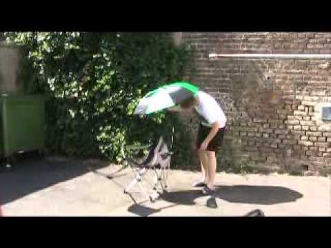 www.Outdoorbedarf.de präsentiert einen bequemen Campingstuhl mit Sonnenschirm und Belohnung