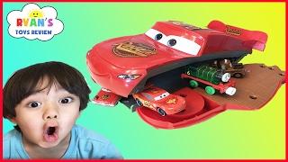 Disney Pixar Cars Toys Lightning McQueen Transformers Playset eats cars ! Egg surprise toy for kids