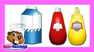 """Drinks & Condiments"" (Level 2 English Lesson 13) CLIP - Speak English, Kids Nutrition, Common Food"