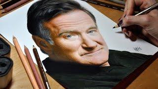Смотреть онлайн Девушка нарисовала живой портрет Робина Уильямса