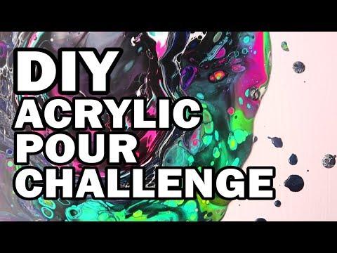 🦄 DIY Unicorn Acrylic Pour Challenge - Man Vs Corinne Vs Art #2 (видео)