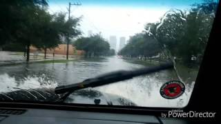 Jeep Driving Through Flooded Roads In Houston