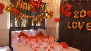 Birthday Surprise Decoration Ideas For Husband, Balloon Decoration At Home, Romantic Room Decoration