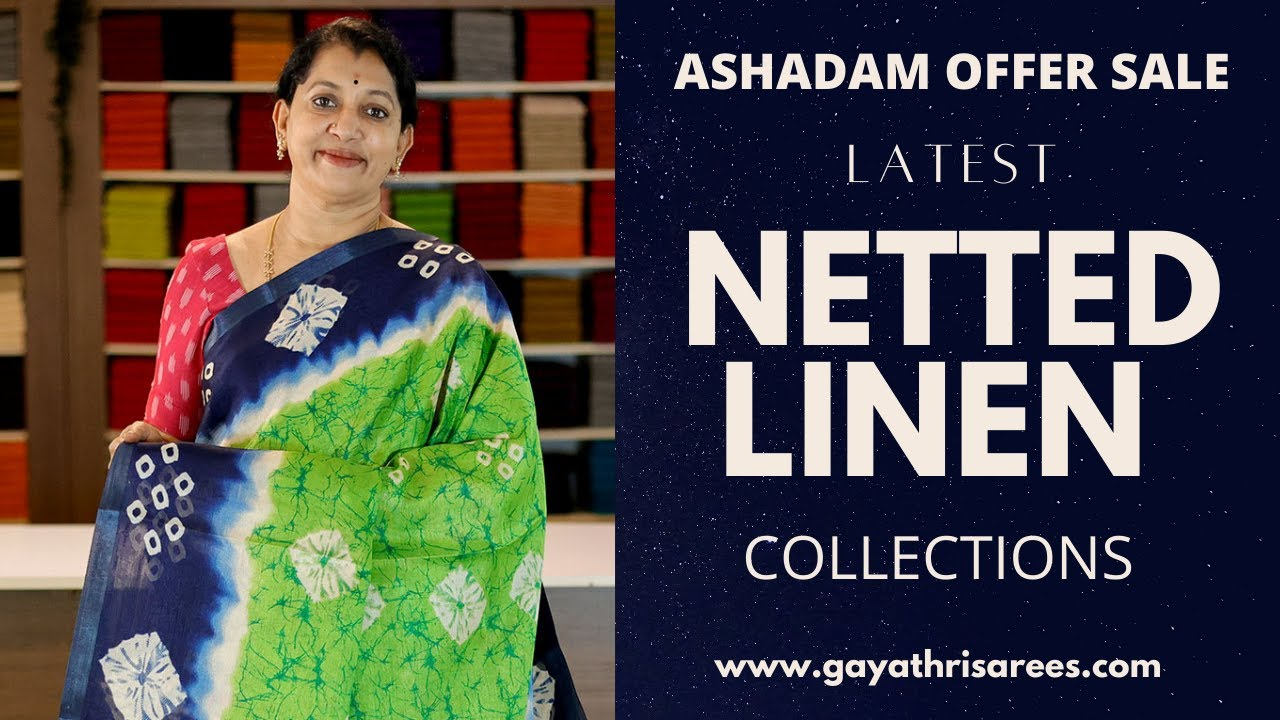 """<p style=""""color: red"""">Video : </p>New Latest Netted Linen Sarees &amp; Collections 