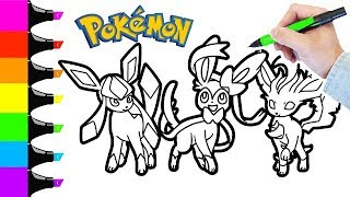 Pokémon Coloring Book Pages Speed Coloring For Kids Glaceon, Sylveon, And Leafeon