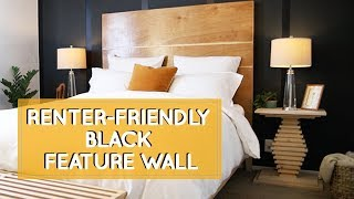 Home Color Inspiration For Renters That Cant Paint: Bedroom Makeover With Black Feature Wall